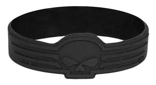 Harley-Davidson Debossed Linear Willie G Skull Silicone Wristband, Black WB02730 - Wisconsin Harley-Davidson
