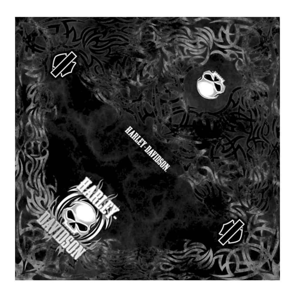 c8a5303e83c3 Harley-Davidson Men's Vicious Willie G Skull Bandana, Black, 24 x 24 in