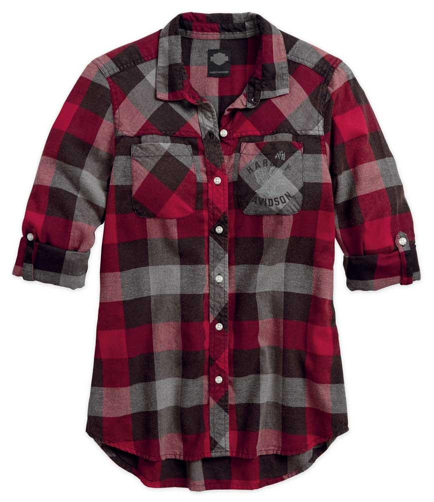 00914af1d63 Harley-Davidson® Women s Black Label Roll-Tab Sleeve Plaid Shirt ...