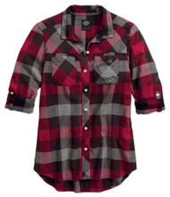 Harley-Davidson Women's Black Label Roll-Tab Sleeve Plaid Shirt, Red 99110-17VW - Wisconsin Harley-Davidson