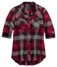 Harley-Davidson Women's Black Label Roll-Tab Sleeve Plaid Shirt, Red 99110-17VW - Wisconsin Harley-Davidson