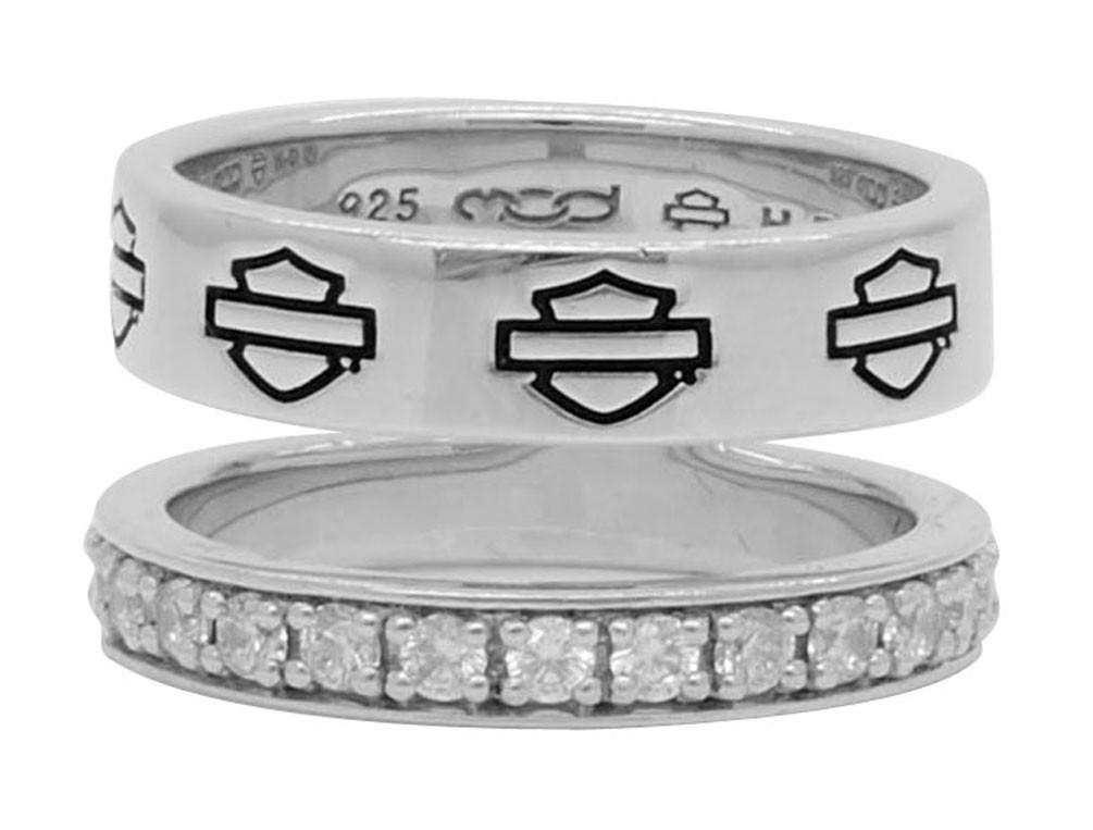 Harley Davidson Wedding Rings.Harley Davidson Women S Double Band Bling Split Ring Sterling Silver Hdr0426