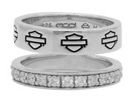 Harley-Davidson Women's Double Band Bling Split Ring, Sterling Silver HDR0426 - Wisconsin Harley-Davidson