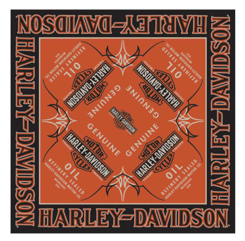 Harley-Davidson Men's Genuine Oil Bar & Shield Bandana, 24 x 24 inch BA21264 - Wisconsin Harley-Davidson