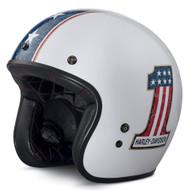Harley-Davidson Men's Distressed RWB #1 B01 3/4 Helmet, White 98315-17VX - Wisconsin Harley-Davidson