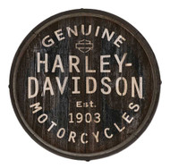 Harley-Davidson Distressed Genuine H-D Logo Barrel End w/ Metal Rim, BE-GEN-HARL - Wisconsin Harley-Davidson
