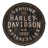 Harley-Davidson Distressed Genuine H-D Logo Barrel End w/ Metal Rim, BE-GEN-HARL - Wisconsin Harley-Davidson