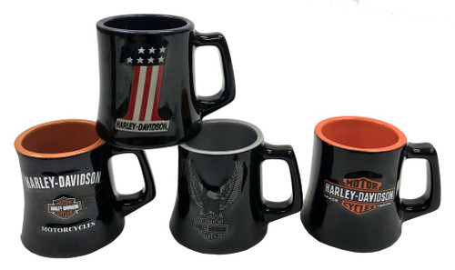 Harley-Davidson Ceramic H-D Logos 2 oz. Mug Shot Glasses, 4 Pack Black HD-HD-922 - Wisconsin Harley-Davidson