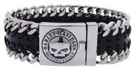 Harley-Davidson Men's Hidden Clasp Willie G Skull Bracelet, Black HSB0183 - Wisconsin Harley-Davidson