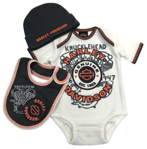 Harley-Davidson Baby Boys' H-D 3 Piece Gift Box Set, Cream 2551747 - Wisconsin Harley-Davidson