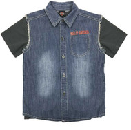 Harley-Davidson Little Boys' Frayed Denim Blow-Out Shirt 2-Piece Set 1081705 - Wisconsin Harley-Davidson