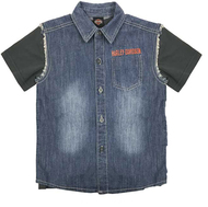 Harley-Davidson Little Boys' Frayed Denim Blow-Out Shirt 2-Piece Set 1081705 - Wisconsin Harley-Davidson