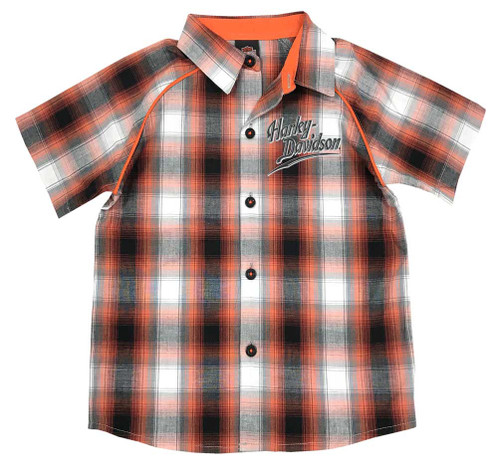 Harley-Davidson Big Boys' Plaid Short Sleeve Woven Shirt, Orange 1091713 - Wisconsin Harley-Davidson