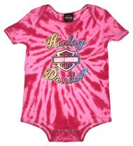 Harley-Davidson Baby Girls' Sugar Glitter B&S Tie-Dye Creeper, Pink 3000739 - Wisconsin Harley-Davidson