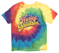 Harley-Davidson Little Girls' Glitter H-D Swirl Tie-Dye Rainbow Tee 1520753 - Wisconsin Harley-Davidson
