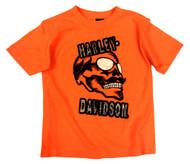 Harley-Davidson Little Boys' Skull & Shades T-Shirt, Safety Orange 1580661 - Wisconsin Harley-Davidson