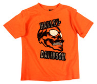 Harley-Davidson Little Boys' Skull & Shades T-Shirt, Safety Orange 1580661 - Wisconsin Harley-Davidson