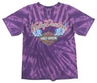 Harley-Davidson Little Girls' Glitter Wings Swirl Tie-Dye Tee, Purple 1520731 - Wisconsin Harley-Davidson