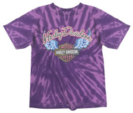 Harley-Davidson Little Girls' Glitter Wings Swirl Tie-Dye Tee, Purple 1520731 - Wisconsin Harley-Davidson