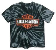 Harley-Davidson Big Boys' Bar & Shield Swirl Tie-Die T-Shirt, Black 1590735 - Wisconsin Harley-Davidson