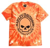 Harley-Davidson Little Boys' Skull Logo Swirl Tie-Die T-Shirt, Orange 1570749 - Wisconsin Harley-Davidson