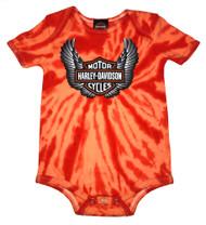 Harley-Davidson Baby Boys' Winged Bar & Shield Tie-Dye Creeper, Orange 3050743 - Wisconsin Harley-Davidson