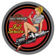 Harley-Davidson Spark Plug Babe Embossed Tin Sign, 14 inch diameter 2011371 - Wisconsin Harley-Davidson