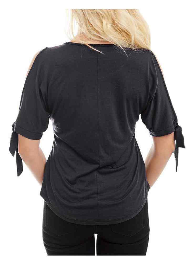 9d481154a07c96 Harley-Davidson Women s Leaf it Embellished Cold Shoulder 3 4 Sleeve Top