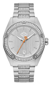 Harley-Davidson Women's Crystal Embellished B&S Stainless Steel Watch 76L187 - Wisconsin Harley-Davidson