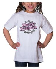 Harley-Davidson Little Girls' Glitter Geared Up Short Sleeve Toddler Tee, White - Wisconsin Harley-Davidson