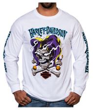 Harley-Davidson Men's Road Jester Skull Long Sleeve Crew-Neck Shirt, White - Wisconsin Harley-Davidson
