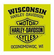 Harley-Davidson Men's Skull Chest Pocket Short Sleeve T-Shirt, Safety Green - Wisconsin Harley-Davidson