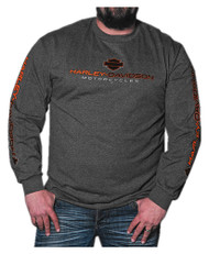Harley-Davidson Men's League H-D Script Long Sleeve Shirt, Charcoal Heather - Wisconsin Harley-Davidson