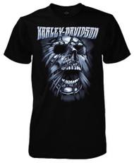 Harley-Davidson Men's Stretched Skull Short Sleeve Crew T-Shirt, Solid Black - Wisconsin Harley-Davidson