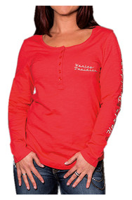 Harley-Davidson Women's Road Queen Long Sleeve Henley Shirt, Poppy Red - Wisconsin Harley-Davidson