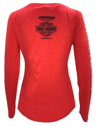 Harley-Davidson Women's Road Queen Long Sleeve Henley Shirt, Poppy Red - Wisconsin Harley-Davidson