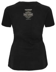 2cf6e805782 Harley-Davidson Women's Handcrafted Short Sleeve Dolman Wide-Neck Tee,  Black - Wisconsin