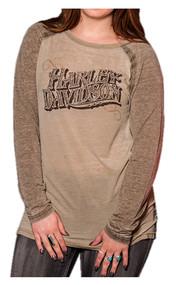 Harley-Davidson Women's Playbill Long Sleeve Raglan Burnout Shirt, Brown - Wisconsin Harley-Davidson