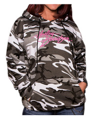 Harley-Davidson Women's Embellished Incognito Pullover Hoodie, Urban Camo - Wisconsin Harley-Davidson