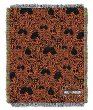 Harley-Davidson Skull City Woven Tapestry Throw Blanket, 48 x 60 Inches NW410367 - Wisconsin Harley-Davidson