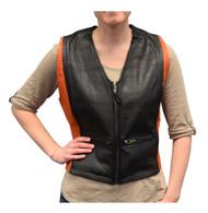 Redline Leather Women's Orange & Black Cowhide Leather Motorcycle Vest L-3430 - Wisconsin Harley-Davidson