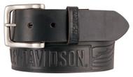 Harley-Davidson Men's Embossed Crosswind Leather Belt, Black HDMBT11334-BLK - Wisconsin Harley-Davidson