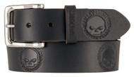 Harley-Davidson Men's Embossed Willie's World Leather Belt, Black HDMBT11332-BLK - Wisconsin Harley-Davidson
