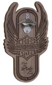 Harley-Davidson Winged Bar & Shield Magnetic Wooden Bottle Opener HDL-18570 - Wisconsin Harley-Davidson