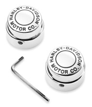 Harley-Davidson Motor Co. Front Axle Nut Cover Kit - Chrome Finish 43864-96 - Wisconsin Harley-Davidson