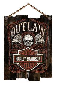 Harley-Davidson Irregular Edge Outlaw Wooden Slat Sign, Black CU97-OL-AD-HARL - Wisconsin Harley-Davidson