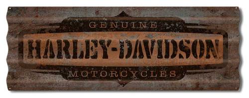 Harley-Davidson Distressed Corrugated Genuine HD Logo Metal Sign A5-COR-GEN-HARL - Wisconsin Harley-Davidson