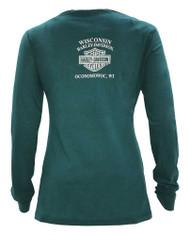 Harley-Davidson Women's Powerful Chrome Soul Long Sleeve Shirt, Green 5V32-HD05 - Wisconsin Harley-Davidson