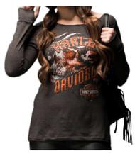 Harley-Davidson Women's Skins & Grins Long Sleeve Raw-Edge Shirt, Gray 5V32-HE3Q - Wisconsin Harley-Davidson