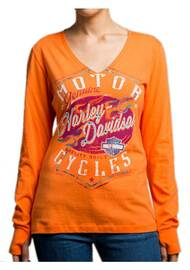 Harley-Davidson Women's Braking Properly Long Sleeve V-Neck Shirt 5U15-HD07 - Wisconsin Harley-Davidson